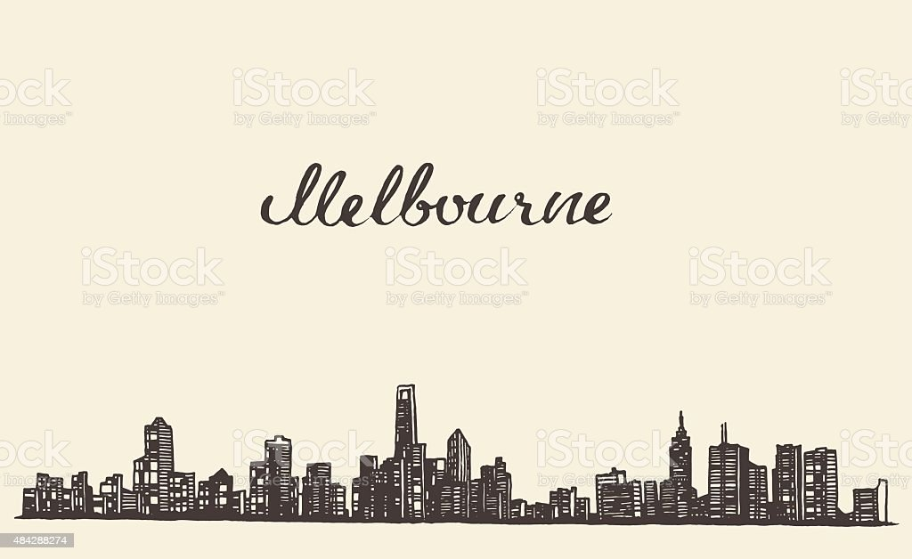 Melbourne skyline vector engraved drawn sketch vector art illustration