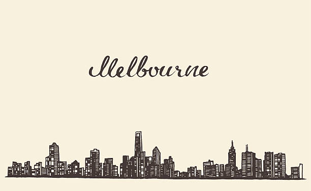 melbourne skyline vector engraved drawn sketch - melbourne stock illustrations