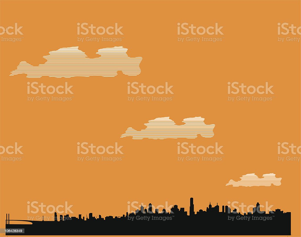 Melbourne skyline vector art illustration