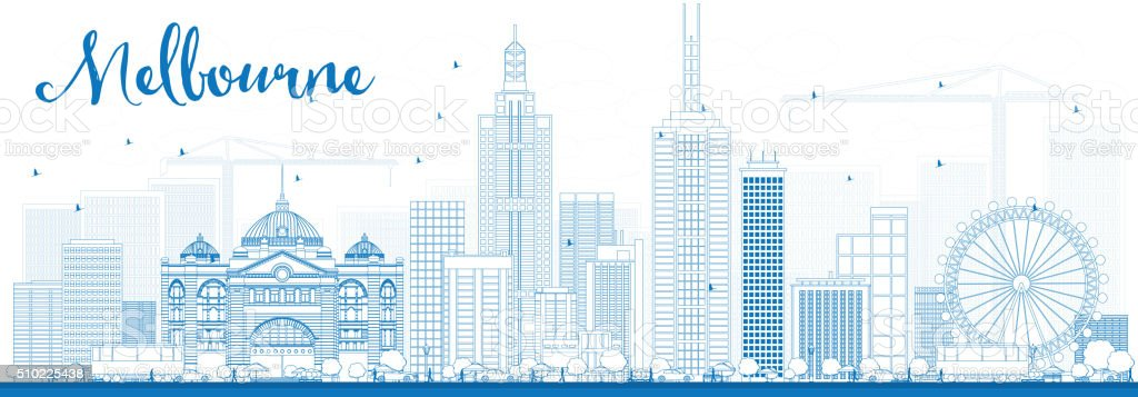 Melbourne Skyline with Blue Buildings. vector art illustration