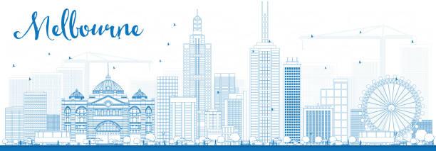 melbourne skyline with blue buildings. - melbourne stock illustrations