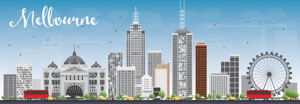 melbourne skyline with gray buildings and blue sky. - melbourne stock illustrations