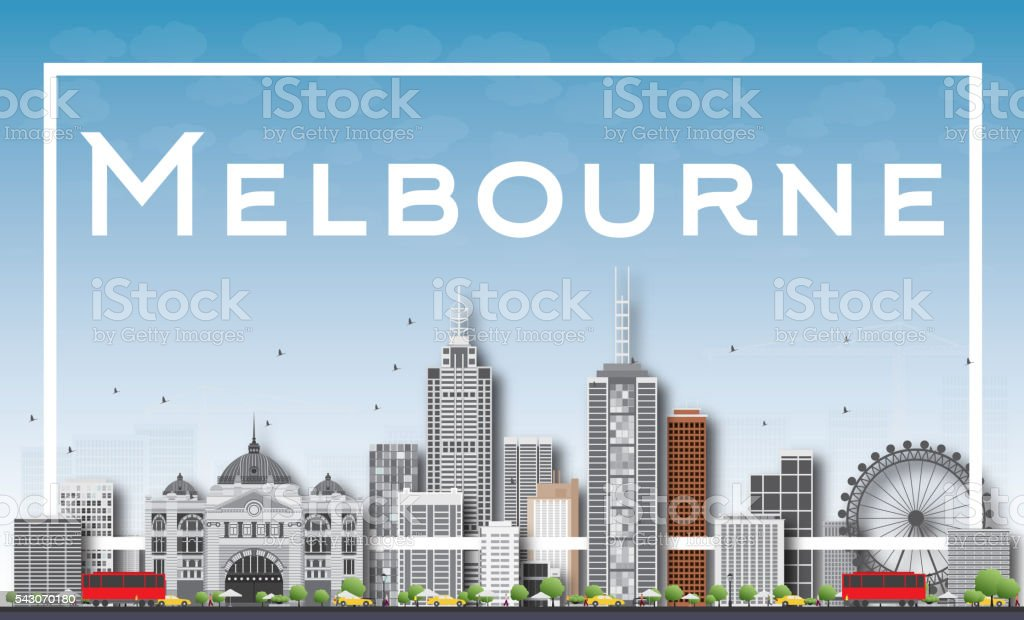 Melbourne Skyline with Gray Buildings and White Frame. vector art illustration