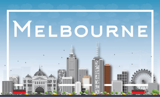 melbourne skyline with gray buildings and white frame. - melbourne stock illustrations