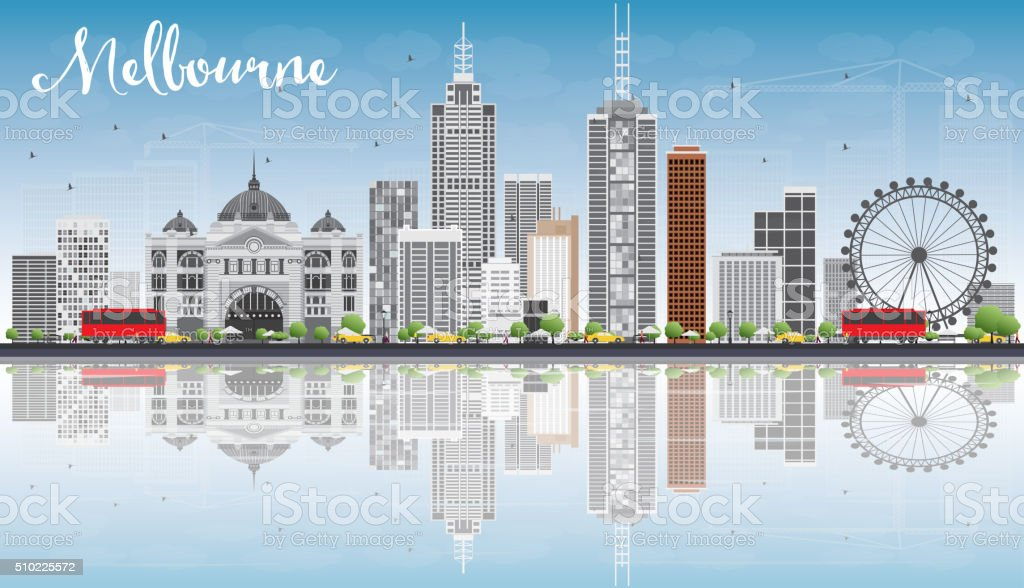 Melbourne Skyline with Gray Buildings, Blue Sky and Reflections. vector art illustration