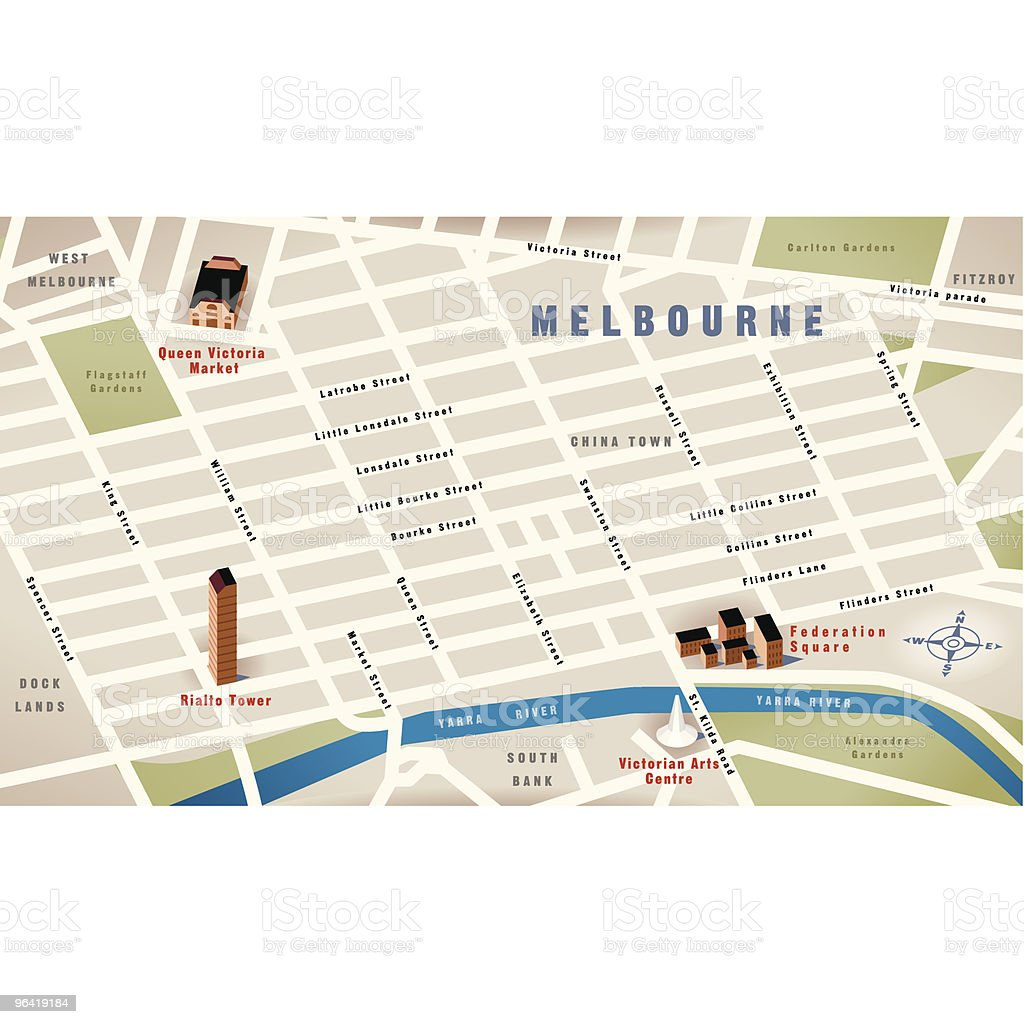 Melbourne, Vic, Australia Map vector art illustration