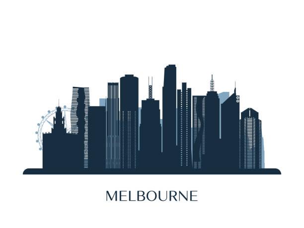 melbrourne skyline, monochrome silhouette. vector illustration. - melbourne stock illustrations