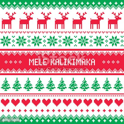istock Mele Kalikimaka - Merry Christmas in Hawaiian greetings card, seamless pattern 698719268