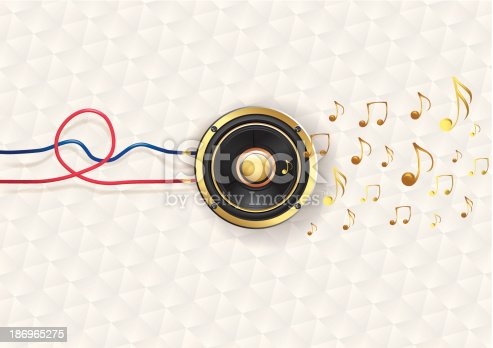 connected speaker & golden notes, music design. Vector artwork. Eps10 with transparencies.