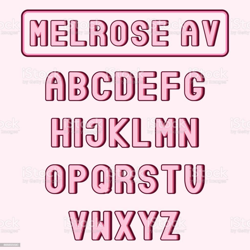Melrose Av Rosa Alphabet Oder Schrift Coole Trendige