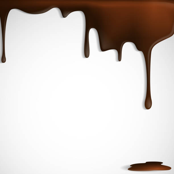 Melted chocolate dripping. vector art illustration