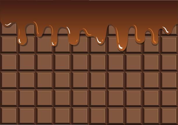 stockillustraties, clipart, cartoons en iconen met gesmolten chocolade op de chocolade bar - chocoladesaus