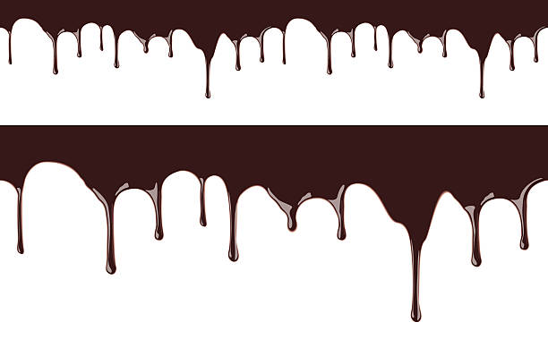 Melted chocolate syrup leaking on white background vector seamless illustration vector realistic illustration for your desing melting stock illustrations