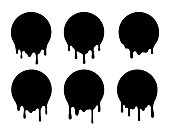Melted circle lable. Dripping paint design set. Liquid vector signs