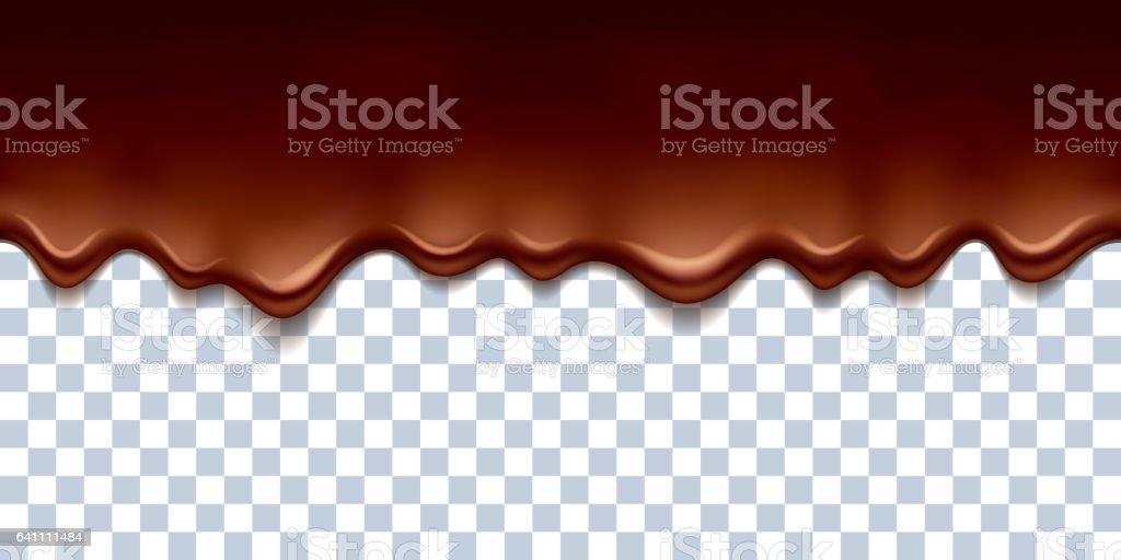 Fluindo gotas de chocolate derretido fronteira Ilustração vetorial - ilustração de arte em vetor