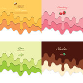 Melted flowing chocolate, strawberry, honey and lime syrup backgrounds set. 3d paper cut out layers. Copy space for text. Vector