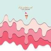 Melted flowing ice cream background. 3d paper cut out layers. Pastel pink and blue. Girly. For notebook cover, greeting card cute design. Vector illustration