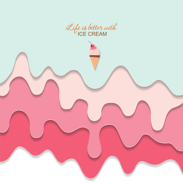 ilustrações de stock, clip art, desenhos animados e ícones de melted flowing ice cream background. 3d paper cut out layers. pastel pink and blue. girly. for notebook cover, greeting card cute design. vector - ice cream