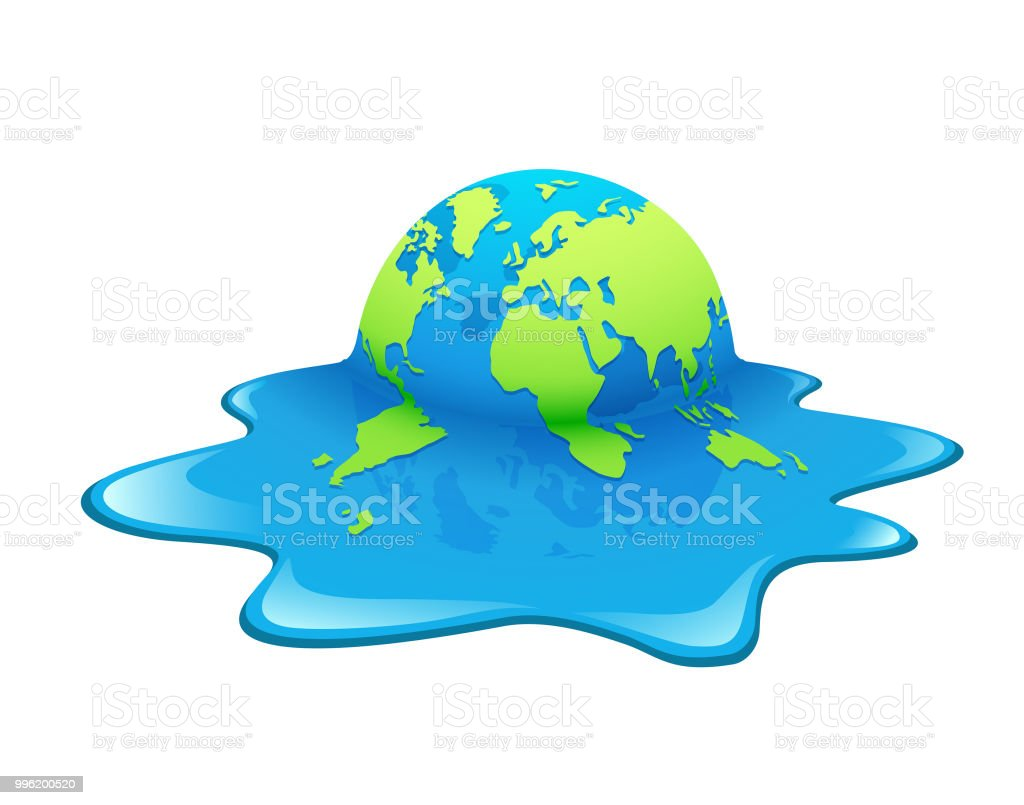 Global Warming Concept Map.Melting Earth Concept Global Warming Green And Blue World Stock