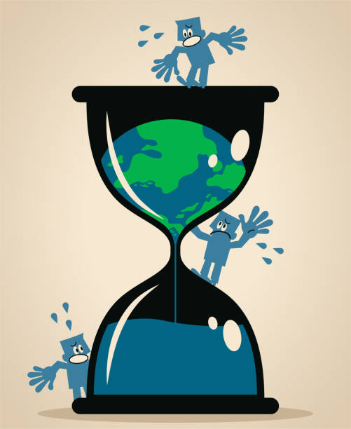 Melting Earth inside of a hourglass and people are worried and scared vector art illustration