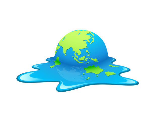 Melting Earth Vector. Concept global warming Melting Earth Vector. Concept global warming, green and blue world ,illustration. water wastage stock illustrations
