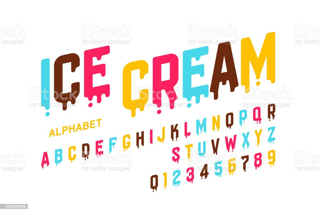 Melting ice cream font - Royalty-free Alfabeto arte vetorial