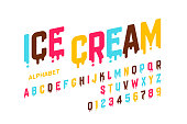 Melting ice cream font, alphabet letters and numbers vector illustration