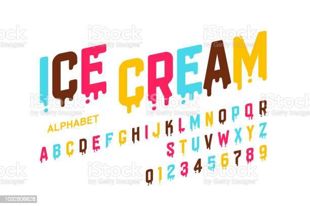 Melting Ice Cream Font - Arte vetorial de stock e mais imagens de Alfabeto
