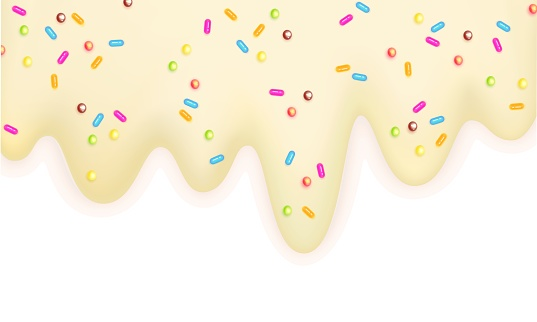 Melting ice cream sprinkled with lollipops 3d pastel milk border isolated on a white background Sweet delicacy Summertime Vector