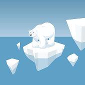 Melting Iceberg And White Bear