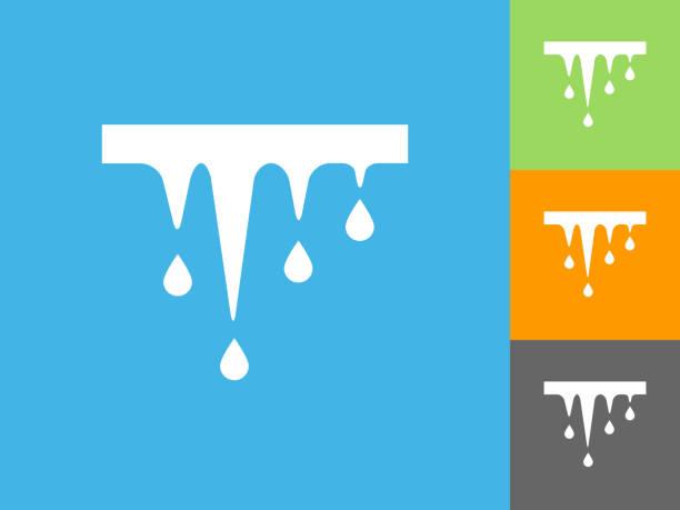 schmelzende eiszapfen flache symbol auf blauem hintergrund - eiszapfen stock-grafiken, -clipart, -cartoons und -symbole