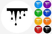 Melting Icicles Icon on Flat Color Circle Buttons