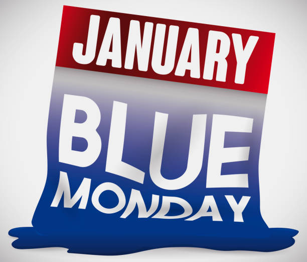 stockillustraties, clipart, cartoons en iconen met smelten losbladige agenda vanwege de trieste blauwe maandag - blue monday