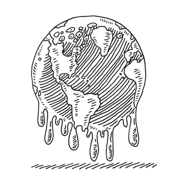 melting planet earth drawing - climate change stock illustrations