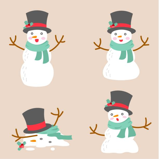 melting snowman illustration flat design in Christmas winter season for holidays celebration melting snowmans, illustrations, flat design in Christmas, winter season for holiday celebrations, snowman stock illustrations