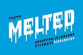 Melting style font design, alphabet letters and numbers vector illustration