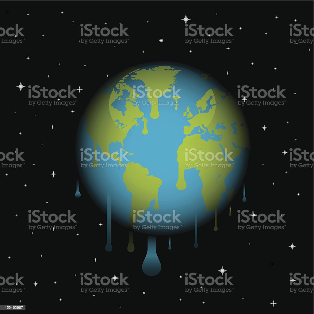 melting world vector art illustration