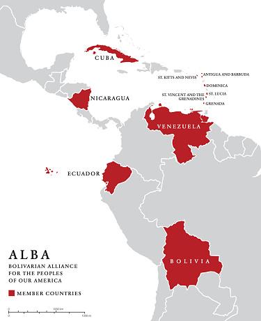 ALBA, member countries info map