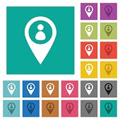 Member GPS map location square flat multi colored icons