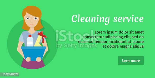 istock Member of the Cleaning Service with Glass Cleaner 1142446572