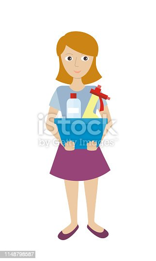 istock Member of the Cleaning Service with Glass Cleaner 1148798587