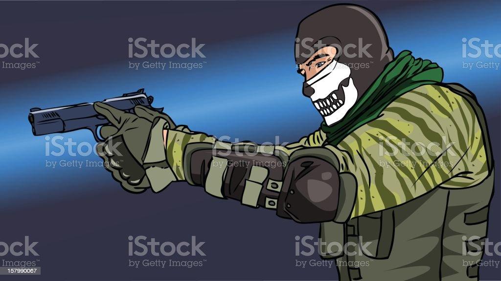 SWAT member shooting vector art illustration