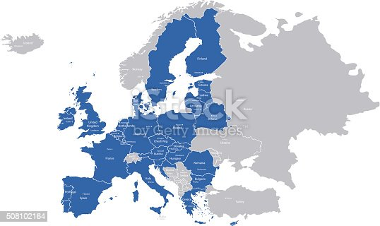 A map with European Union countries and their capitals.