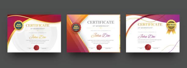 stockillustraties, clipart, cartoons en iconen met lidmaatschap certificaat beste toekenning diploma instellen. - certificaat