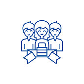 Membership line concept icon. Membership flat  vector website sign, outline symbol, illustration.