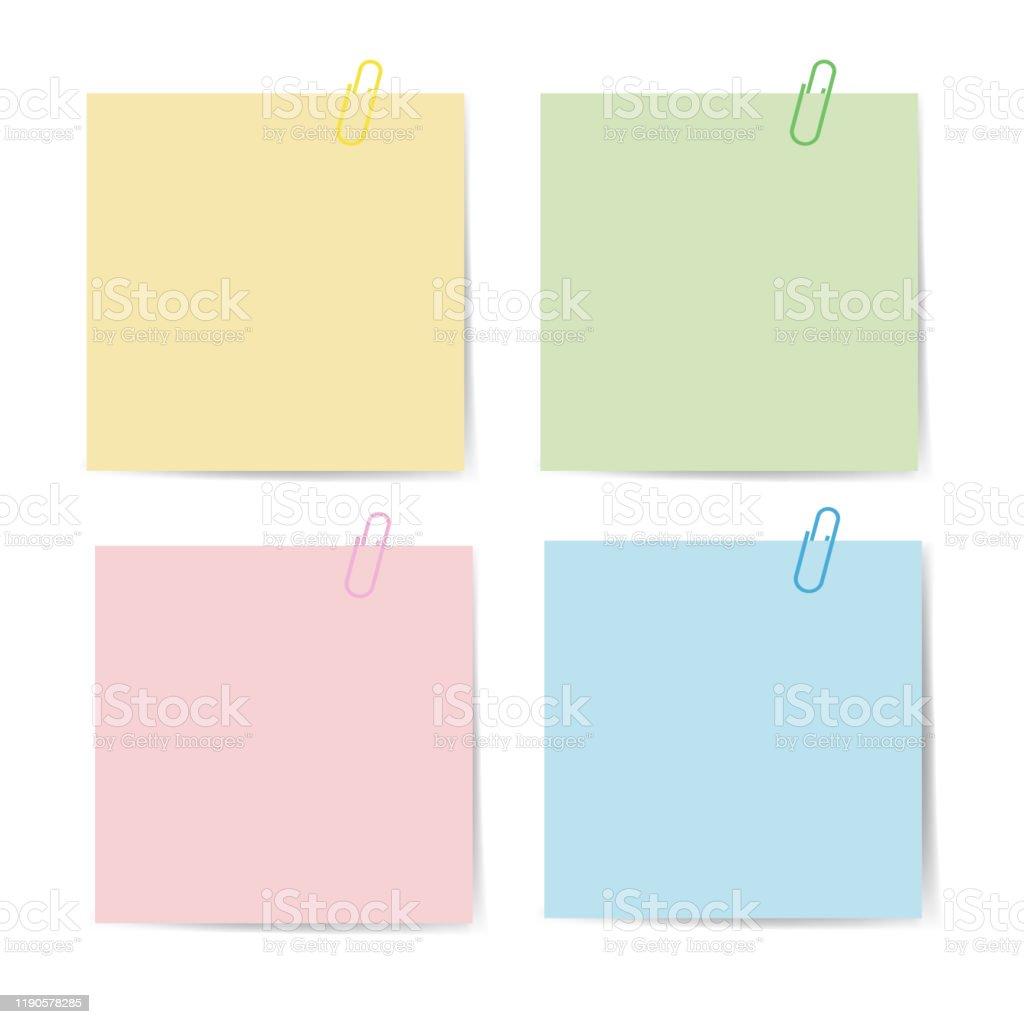 Memo-Papier mit Büroklammer für Büropapier. Verschluss, Büroklammer mit leerem Notizpapier. Anbringen von Bindemitteln mit weißem Notizblatt. Satz von isolierten Farbbüroklammer für Text. Clips und Liste. vektor eps10 - Lizenzfrei Ankündigung Vektorgrafik
