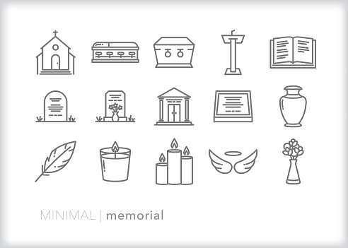 Memorial and funeral line icon set