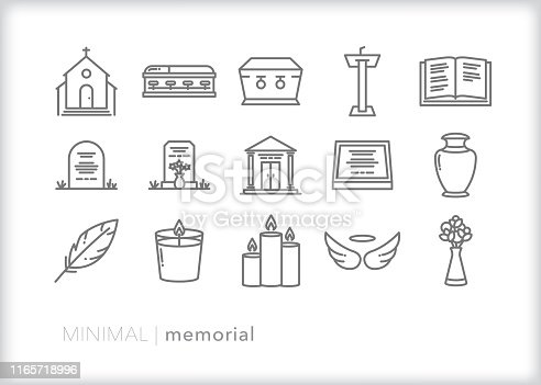 Set of 15 memorial line icons to celebrate the end of life through a church service, funeral, service, or burial.