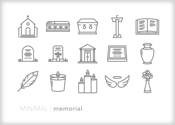 Memorial and funeral line icon set Set of 15 memorial line icons to celebrate the end of life through a church service, funeral, service, or burial. place of worship stock illustrations