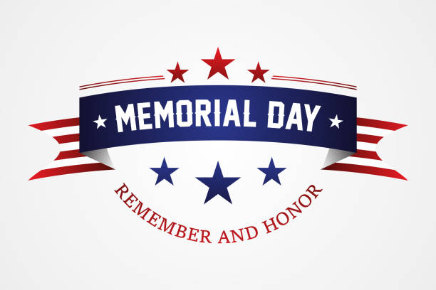 memorial day - american flag ribbon with lettering memorial day - memorial day stock illustrations